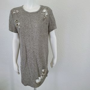 Dope Ripped Heather Gray Long Tunic Top L